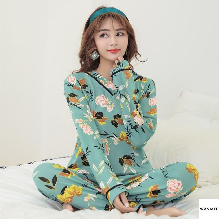 Spring Autumn New Pajamas Women's V-neck Flowers Grass Long-sleeved Thin Women Sleepwear Sweet Korean Home Wear Pyjamas Set