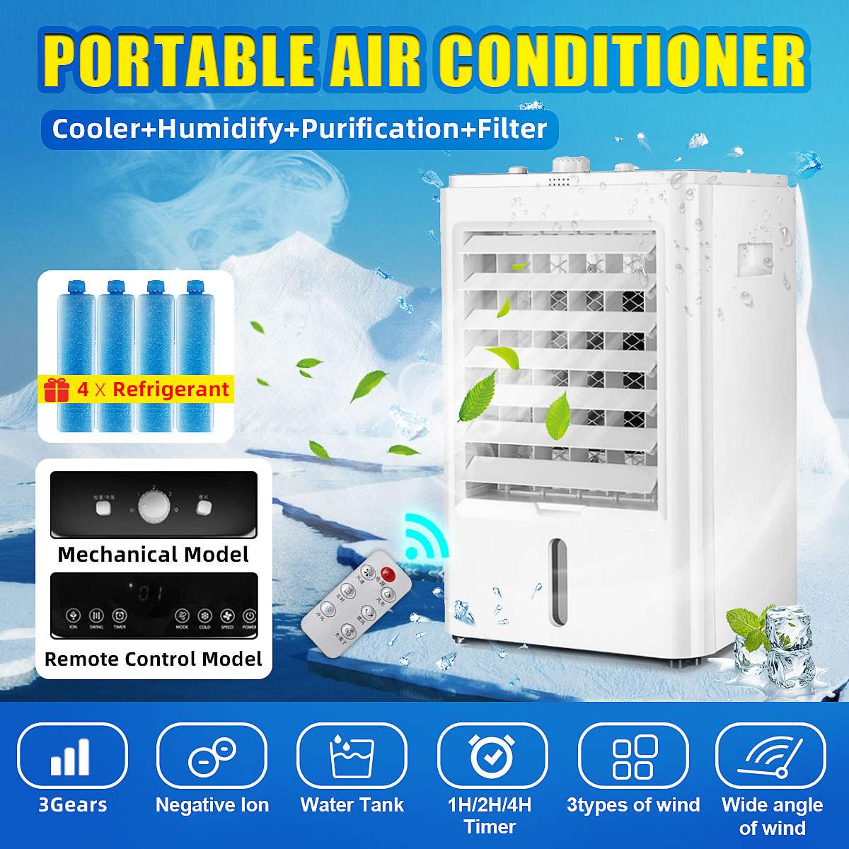 65W Mini Portable Air Conditioner Conditioning Humidifier Purifier Desktop Cooling Cooler Fan 3 Gears Adjustment 3 Kinds Winds