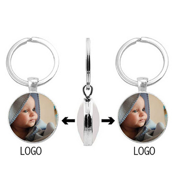 Double-Sided Personalized Photo Pendant BabyS Custom Keychain Mom Dad Grandparents Parents Love A Gift For Family Member