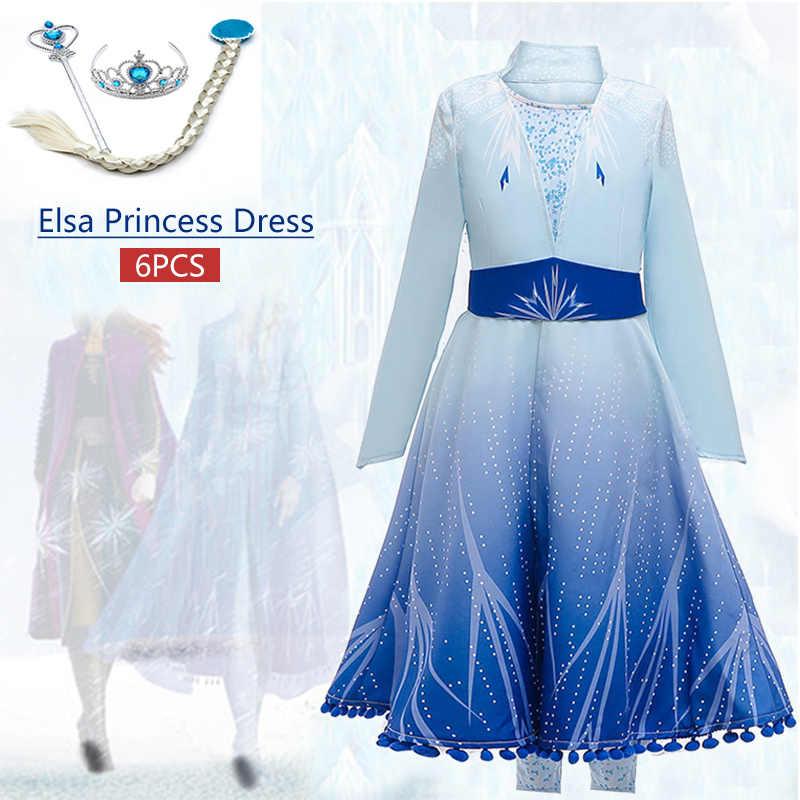 2019 últimas Niñas Elsa Vestido Vestidos Infantiles Para Niñas Disfraz Vestido Princesa Elegante Fiesta De Navidad Ropa Para Niños 3 12 Años