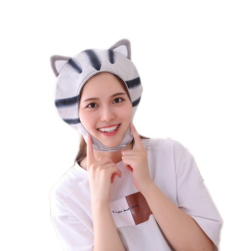 New Short Cat Headgear Hat Plush Toy Doll Cute Animal Hat Halloween Funny Toy