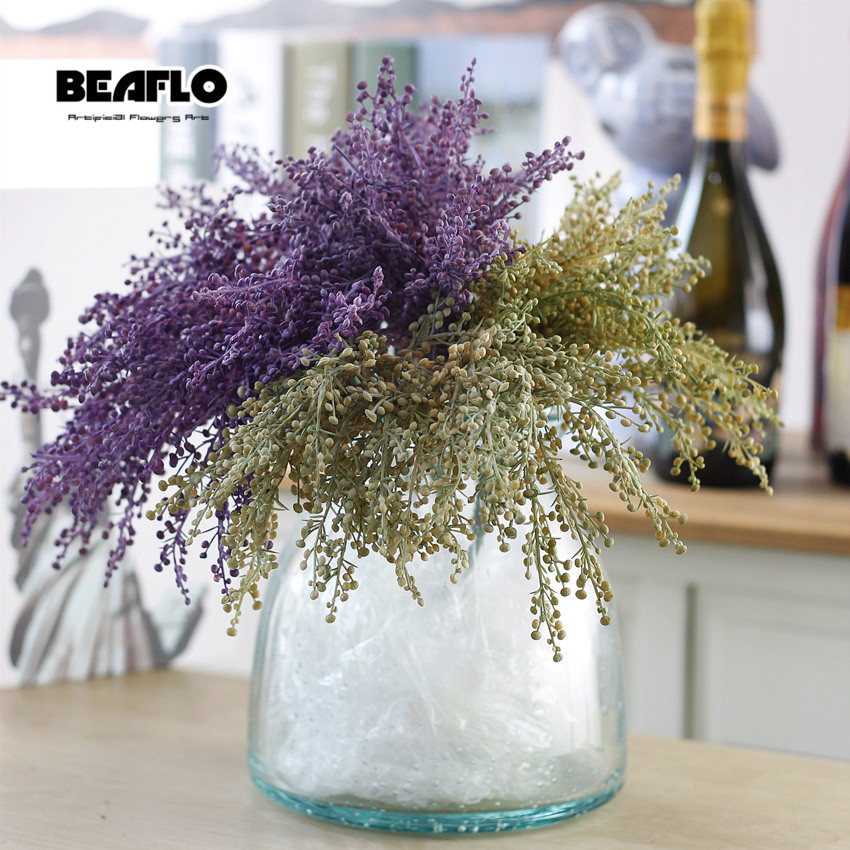 5pcs/Set Artificial Plant Fake Leaf Grass Plants Wheat For Home Garden Party Wedding Decoration Plastic Faux Plants