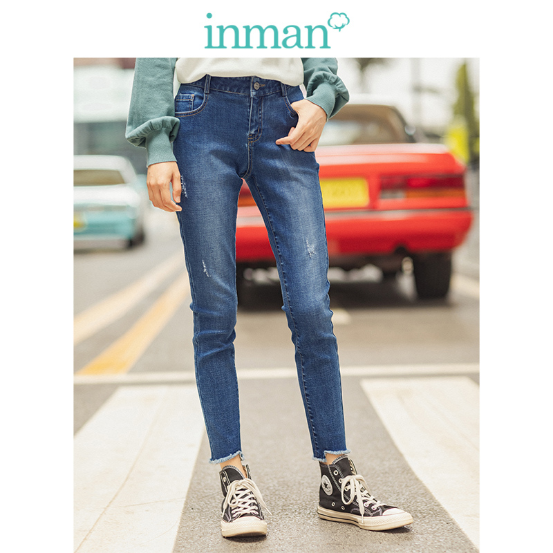 INMAN Spring Autumn Medium Waist Retro Fashion Slim All Matched Cotton Blending Pencil Pants Women Jeans