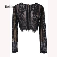 Ladies Spring and Autumn Black Lace Long Sleeve Shirt Cropped Top Hollow Office 2019 side lace up cropped long sleeve top