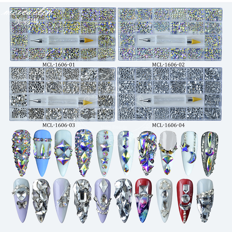 400Pcs/Box 20 Shape Glass Crystals Stones Decorations AB Flat Back 3D Mixed Nail Art Rhinestone Set With A Pen