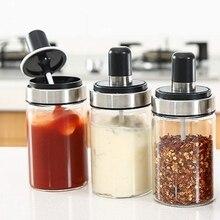 3 Pcs Glass Spice Jars Seasoning Box Jar Condiment Jar, with Spoon and Lid Design, Empty Jars 8.45 Oz