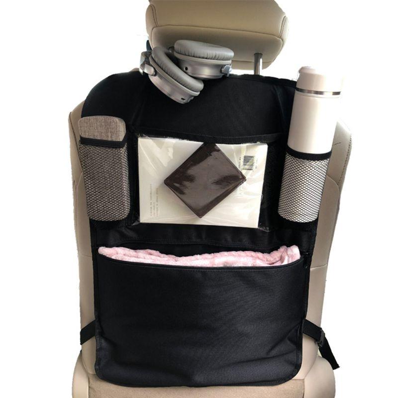 600D Oxford cloth Car Back Seat Organizer Front Seat Storage Kids Pocket Bag Auto Travel Kick Mat