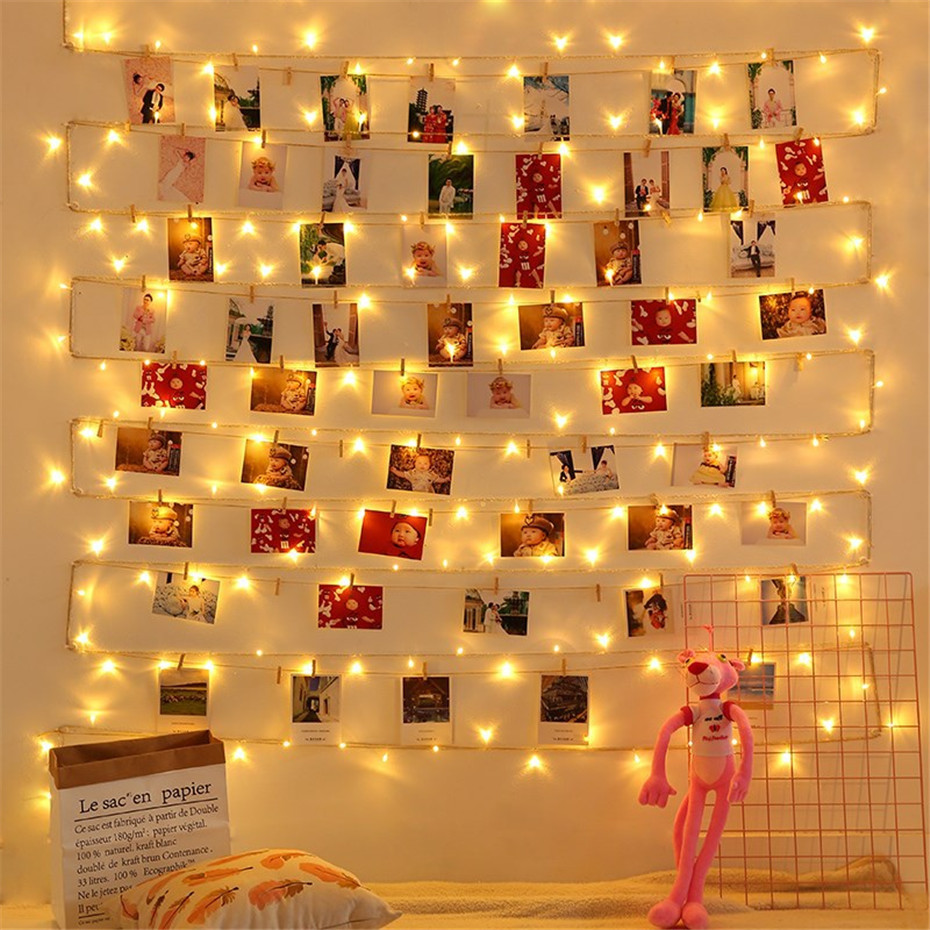 Cards Photos Hanging Clips LED Garland Garter 5/10m Copper Wire String Fairy Lights Battery Power Christmas Birthday Decoration