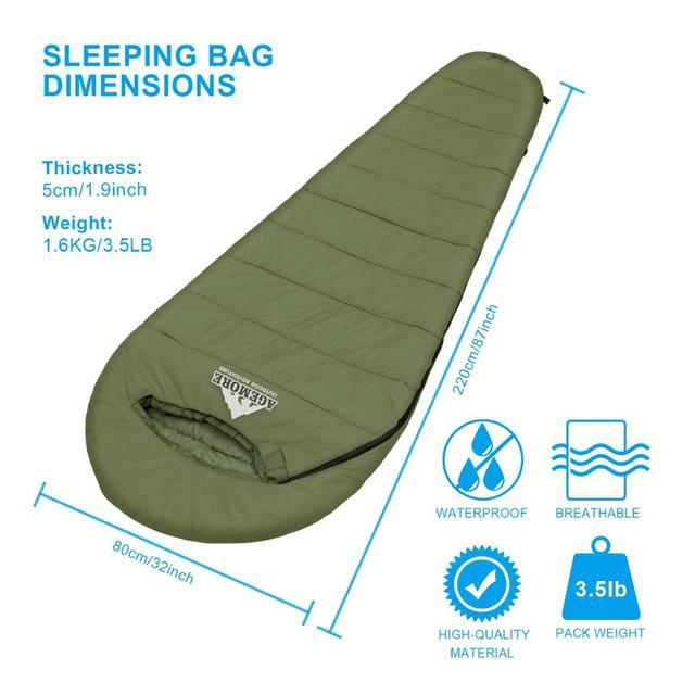 Agemore 220x80cm Envelope Winter Sleeping Bag Electric Heating Camping Sleeping Bag Outdoor Traveling Sleeping Bag Waterproof 2