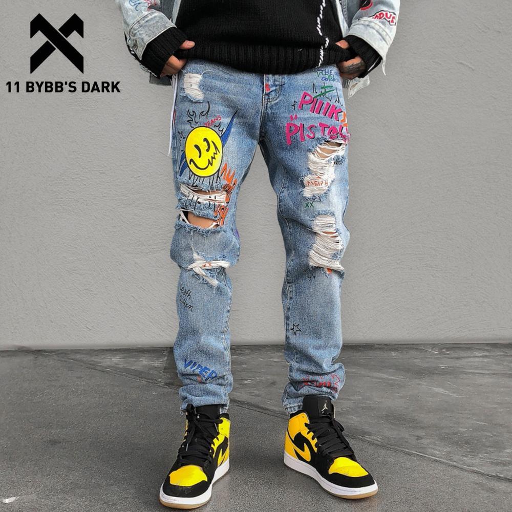 11 BYBB'S DARK Hip Hop Funny Graffiti Hole Jeans Mens 2020 Harajuku Casual Trousersl Joggers Male Streetwear Harem Cargo Pants