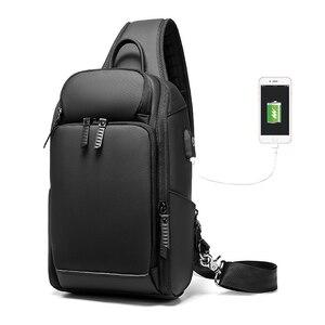 Image 2 - Многофункциональная мужская сумка через плечо с защитой от кражи, мессенджер на ремне с USB портом для мужчин, водонепроницаемый мешочек для коротких поездок