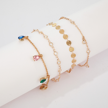 Bohemian Anklet for Women Gold Crystal Layers Foot Chain Ankle Sandals Barefoot Beach Leg Bracelet Halhal Jewelry 4