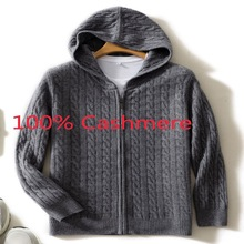 Wool Coat Knitted Sweater 100%Cashmere-Cardigan Hooded Zipper Thickened Men Winter Plus-Size