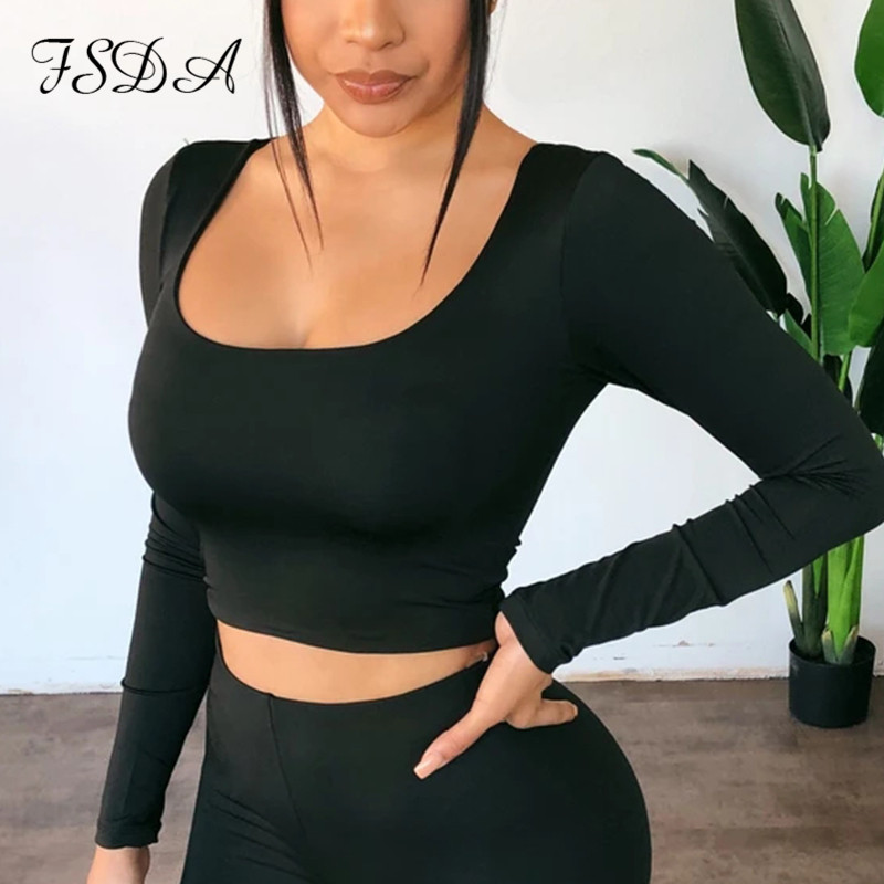 FSDA Summer Spring Crop Top Long Sleeve Women Black Sexy Shirt White Square Neck Casual Tee Top Mujer Ladies|T-Shirts| - AliExpress