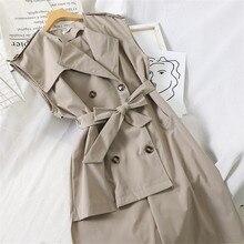 Gowyimmes New Autumn Slim Women Trench Dress Elegant Office Lady Sleeveless Dress Vestidos Winter Bottomings Vestido PD533