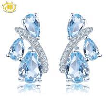 Hutang голубой топаз женские серьги-гвоздики Твердые 925 пробы серебро натуральный драгоценный камень изящные элегантные классические ювелирные изделия