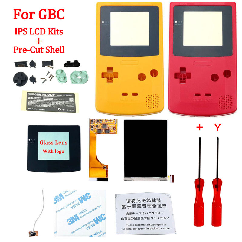 Full Screen GBC IPS LCD Backlight With Pre-cut Shell For Gameboy Color Ips Backlight LCD Screen With Housing Shell Case For GBC