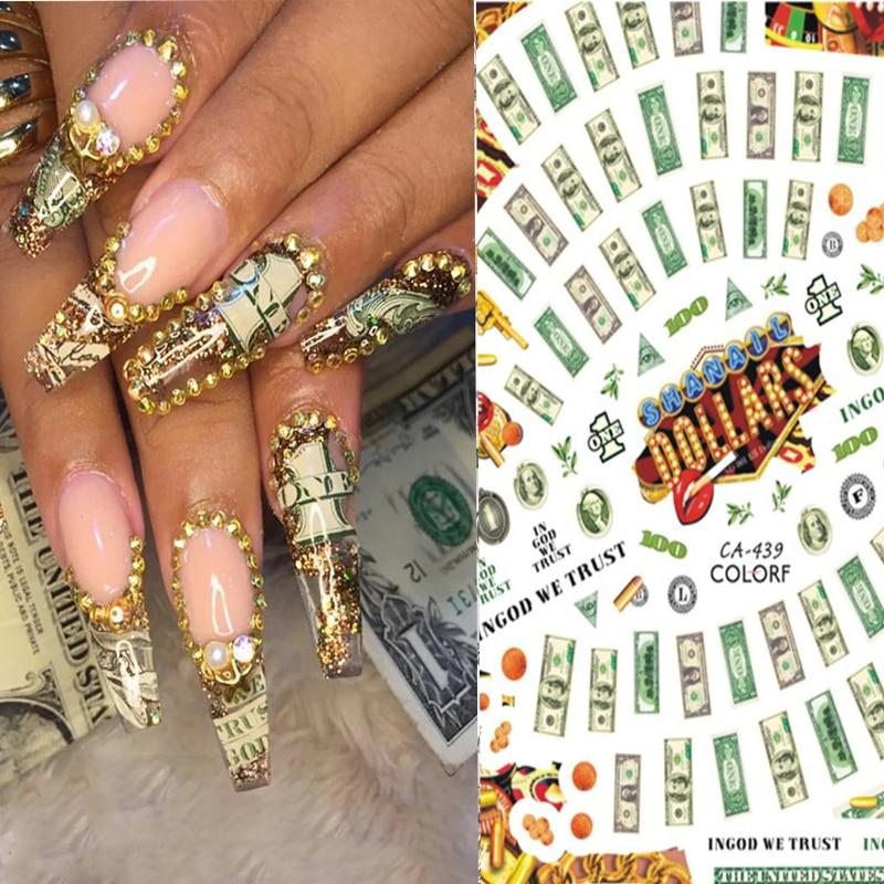 1Pcs Fashion Design 3D Money Dollar Bill Style Nails Art Sticker Wrap Foil Sticker Manicure Tips Nial Decal