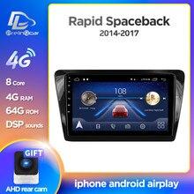 Prelingcar – autoradio Android 10, Navigation GPS, lecteur multimédia vidéo, sans 2 Din, pour voiture Skoda Rapid space back (2014 – 2017)