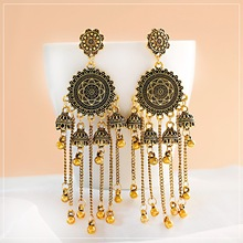 Classical Geometric Long Chain Bell Tassel Hanging Earrings Gypsy Afghan Tibetan Jewelry Bohemia India Jhumka Earrings