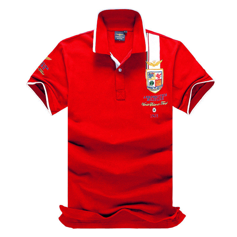 Air Army Embroidery Polos Shirts Red White Solid Color High Quality Brand Print Summer Men Short Sleeve Knit Cotton Sports Tees
