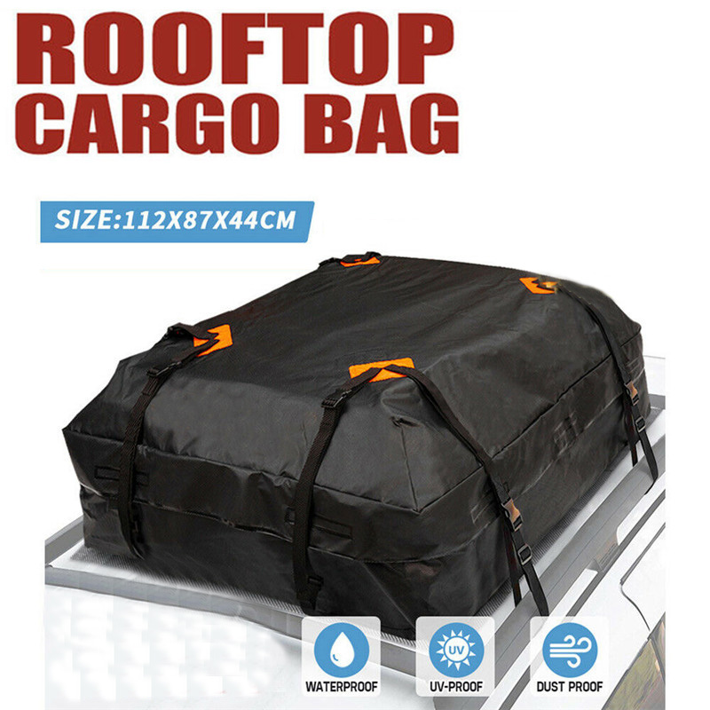 112X84X44cm Waterproof Car Cargo Roof Bag Waterproof Rooftop Luggage Carrier Black Storage Travel Waterproof SUV Van for Cars image