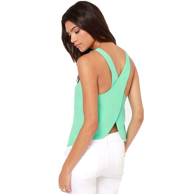 Summer Short Candy Casual Lady Shirts Top Backless Strap Cross Chiffon Blouse Women Blouses Plus Size Sexy Tops 2