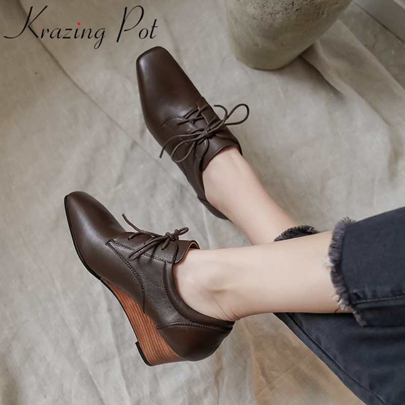 Krazing Pot genuine leather square toe wedges concise  women pumps mature office lady dress lace up high heels spring shoes L08
