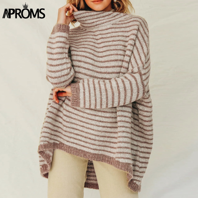 Aproms Turtleneck Knitted Long Sweaters Women Autumn Winter Female Bat Sleeve Pullover And Sweater Plus Size Ladies Loose Jumper