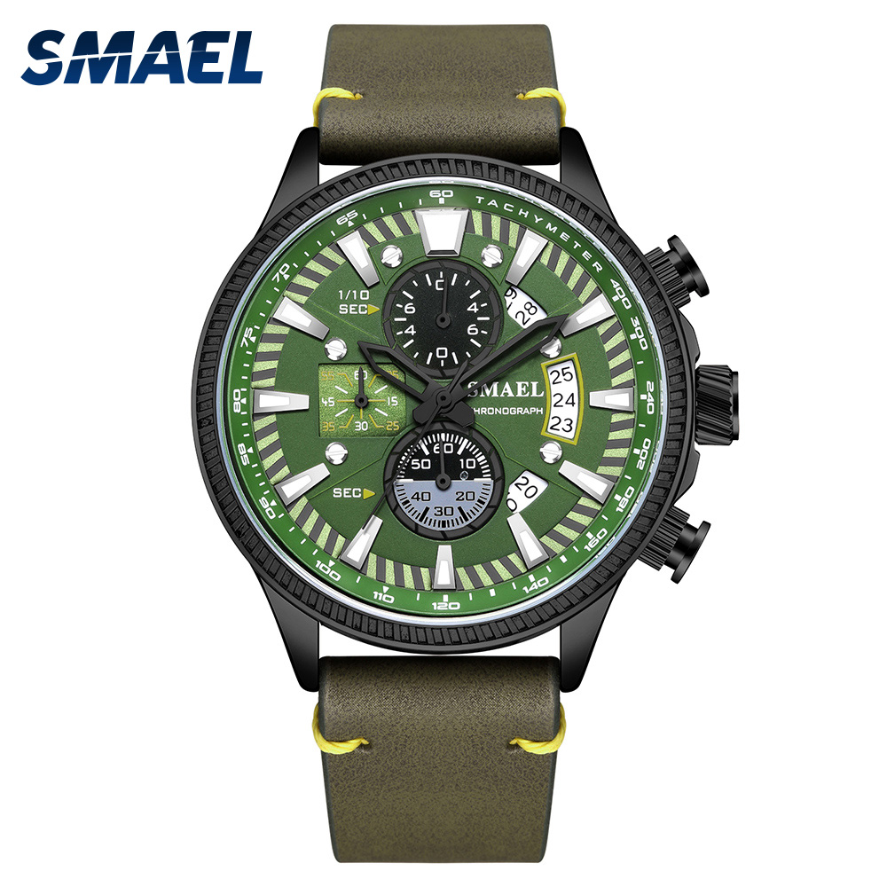 SMAEL Men's Watch Double Hollow Windows 2019 Top Brand Luxury Watch Men Luminous Mode Watches Leather Relogio Masculino 9097