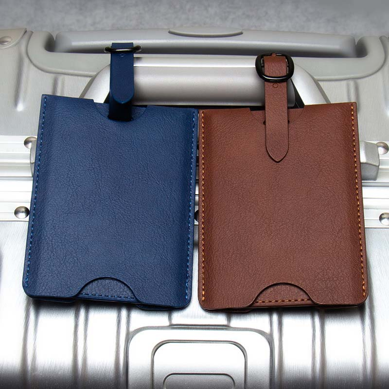 High Quality PU Leather Suitcase Luggage Tags Label Bag Pendant Handbag Portable Travel Accessories Name ID Address Tags