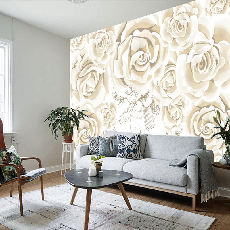 TV Background Wallpaper Seamless Large Mural Modern Chinese Style Living Room 3D Non-woven Wallpaper Cloth Hand-Painted Flower