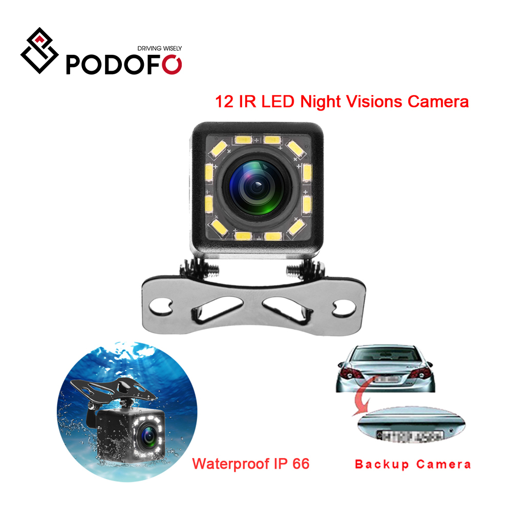 Podofo Waterproof Car Rear View Camera 170 Wide Angle HD CCD 12 LED Night Visions Backup Reversing Parking Cameras Car styling|Vehicle Camera| |  - title=