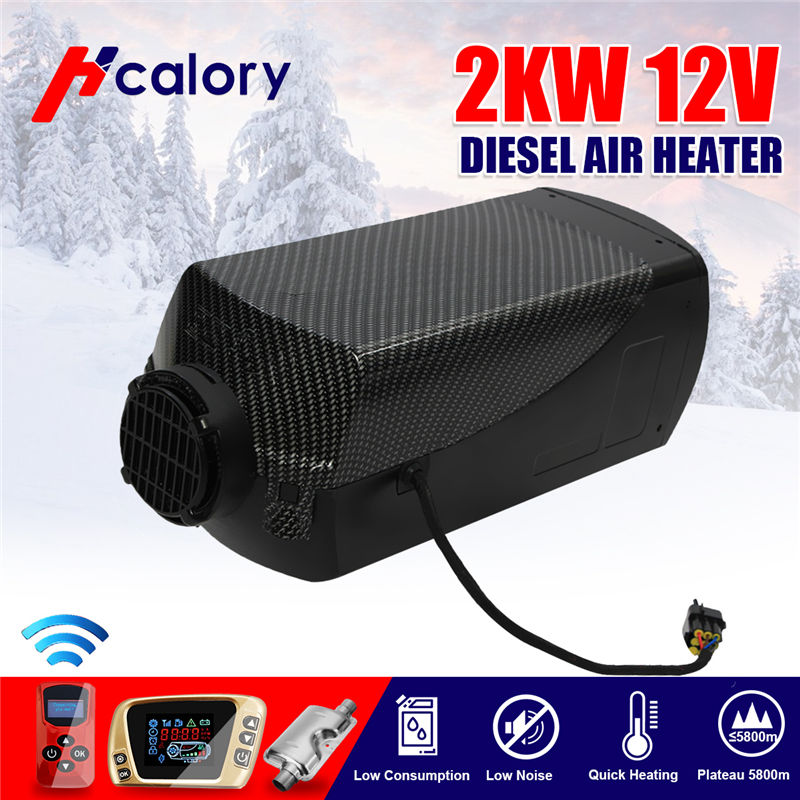 HCalory  12V 2kw Diesels Air Parking Heater Air Heating LCD Switch With Silencer And Remote For Trucks Boats Car Trailer Heater