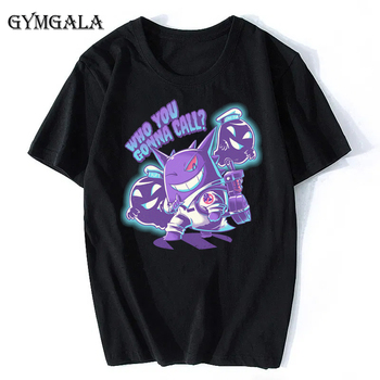 100% cotton anime cartoon Geng ghost printed men's T-shirt summer cotton short-sleeved T-shirt fashion tops tee men's clothing f - XQ-122black, Asian size M