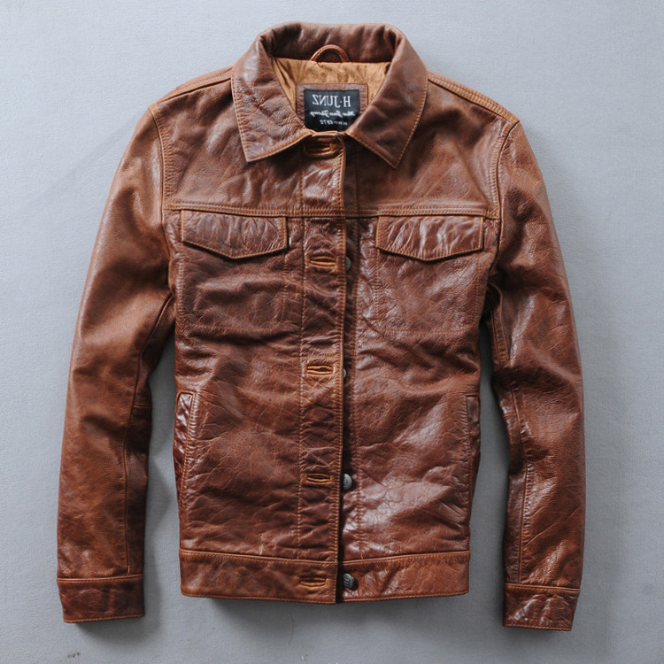 Italy Vintage slim fit single breasted leather biker coat for men brown men's short casual motorcycle jacket