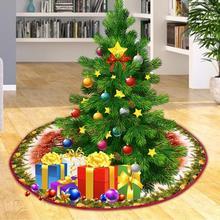 Прямая Кромка 90 см Нетканая Рождественская елка юбка фартуки круглый ковер для домашний коврик для пола украшения подарки