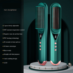 Professional Electric Hair Straightener Curler Hair Straightening Comb Hair Styling Tool Safe 7-Speed Thermostat Fast Heating