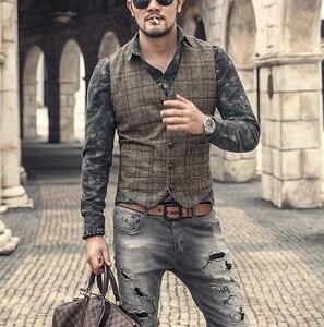 Image 1 - Новинка, серебристый клетчатый костюм, жилет для мужчин, шерстяной твидовый Повседневный облегающий жилет, брикет для мужчин, для свадьбы