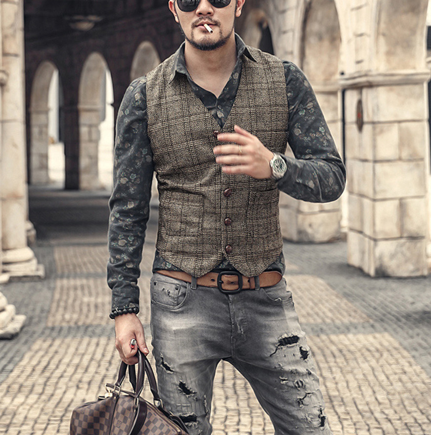 Silver New Plaid Suit Vest For Men Wool Tweed Casual Slim Fit Waistcoat Formal Business Vest For Groomsmen ForWedding