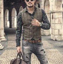 כסף חדש משובץ חליפת אפוד לגברים צמר טוויד מזדמן Slim Fit חזיית פורמליות עסקים אפוד לשושבינים ForWedding