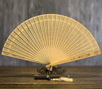 Arts And Crafts Suzhou Fan Classical Hollow Out In National Customs Sandalwood Folding Fan Wenwan Sandalwood Fan