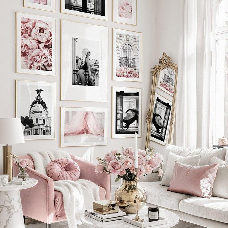 Современные модные сексуальные женщины холст картина розовый цветок настенные художественные черные белые плакаты и принты для декора гостиной