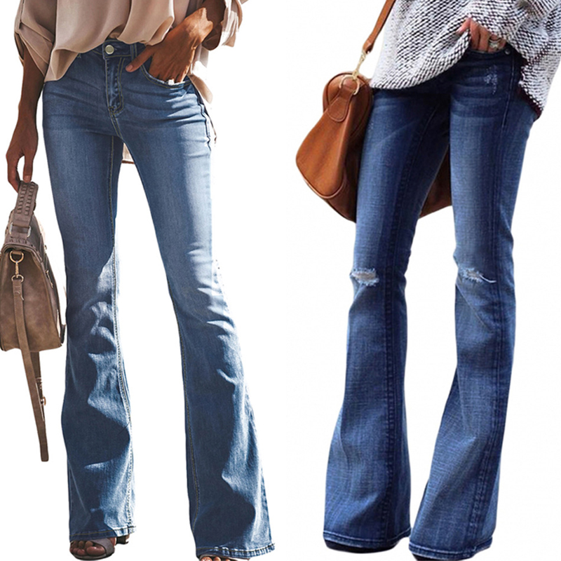 Flare Jeans Vintage Bell Bottom Ripped Jeans For Women Wide Leg Pants Low Waist Elasticity Denim Trousers SlimFit Female 2020