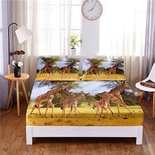 Mattress-Cover Bed-Sheet Giraffe Pillowcases Print with Elastic-Band Four-Corners Digital
