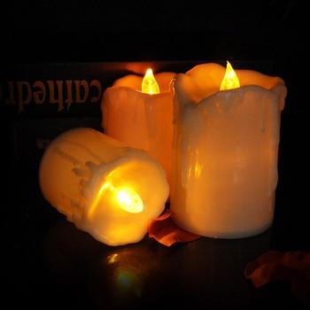 Juego de 3 unidades de velas parpadeantes sin llama, con interruptor de encendido/apagado