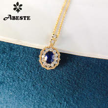 ANI 18K Solid Yellow Gold Pendant Necklace Natural Blue Sapphire Women Engagement Necklace Birthday Gift Halo Diamond Pendant lasamero halo 0 052ct 18k gold round cut square center pave set natural diamond pendant necklace chain women fine jewelry