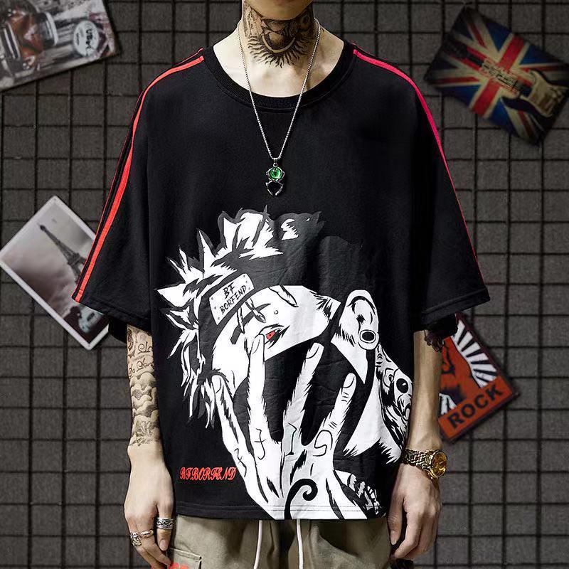Naruto T-shirt Kakashi Hip Hop, Men's Print T-shirts,  Summer Men's T-shirt, Casual Street Wear, Men's T-shirts, T-shirts S-4XL