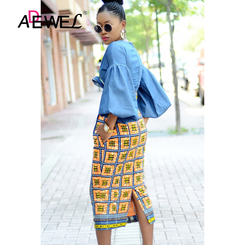 Image 3 - ADEWEL 2019 Plus Size Bluish African Print High Waist Bodycon Pencil Skirt Women Sexy Stripe Pencil Midi Long Skirts Female XXL-in Skirts from Women's Clothing