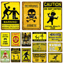Warning Fart Zone Metal Sign Caution Do Not Enter Metal Poster Zombie Party Wall Decor Bigfoot Crossing Metal Plate YL111